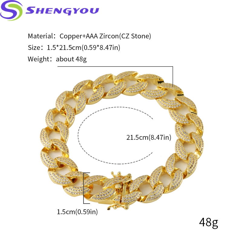 15mm Charm Bracelet Gold Plated Iced Out Jewelry Bracelet For Men With Butterfly Clasp