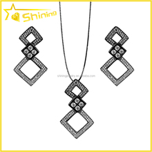 European fashion jewelry 925 sterling silver with aaa cz paved italian women jewelry set