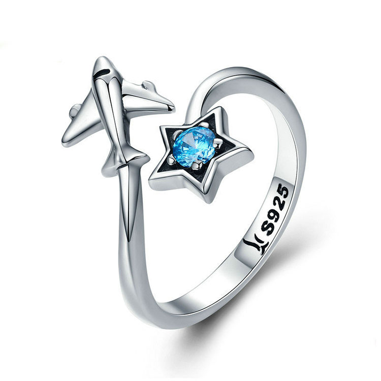 925 Sterling Silver Blue Diamond Star Traveling Airplane Plane Open Rings