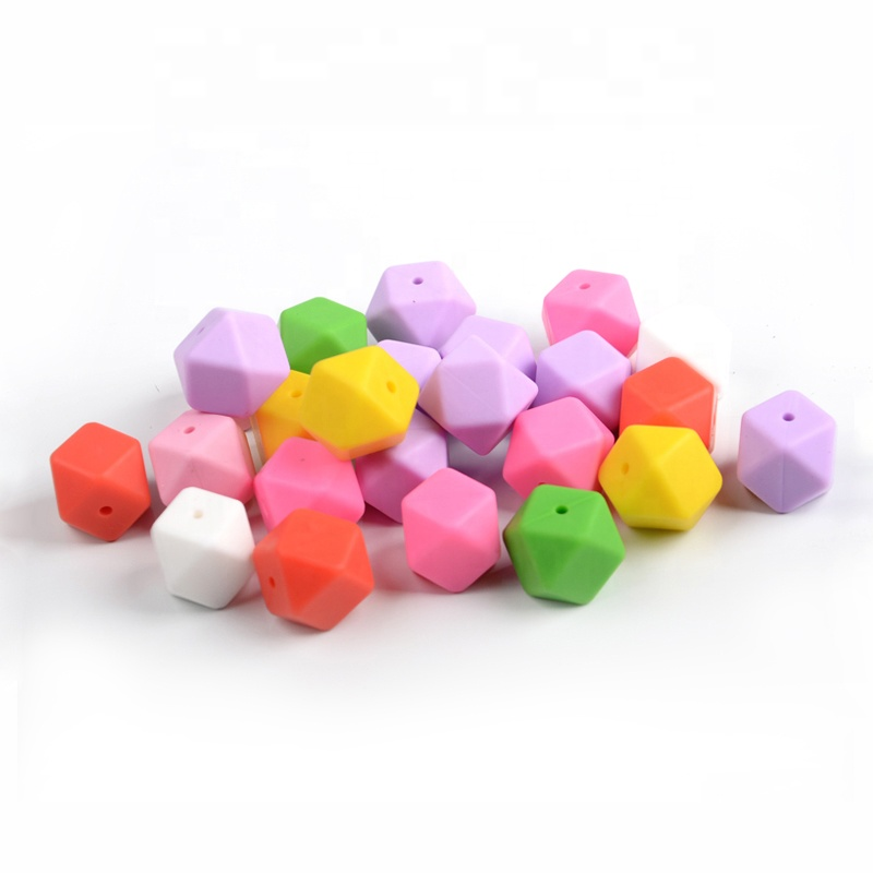 Silicone Beads For Teething Necklace Jewelry Diy Icosahedron Beads Better Than Hexagon 50pieces/lot Beads & Jewelry Making