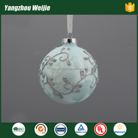 2017 latest design christmas ball ornament parts of glass craft