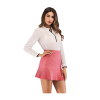 Latest Design Korean Office Girls Pink Pencil Short Skirt Micro Skater Sexy Hip Mini Ruffle Skirt For Girls
