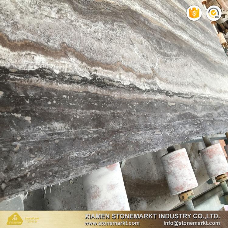 StoneMarkt silver grey travertine stone slab