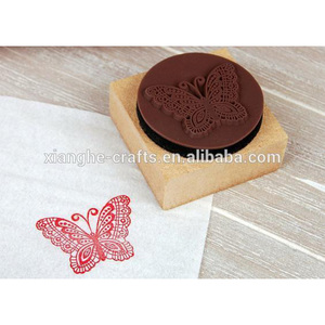 colorful painting round shape wooden shiny stamp