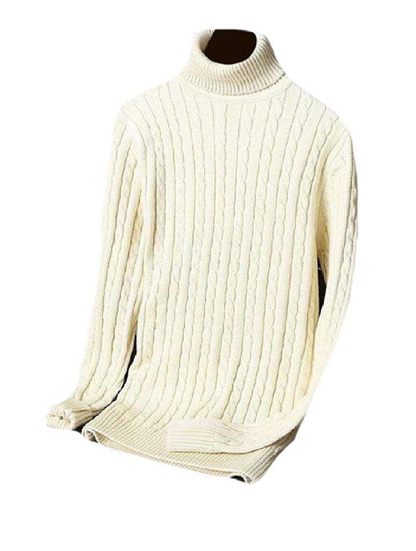 XQS Mens Turtleneck Long Sleeve Solid Knitted Fitted Sweater
