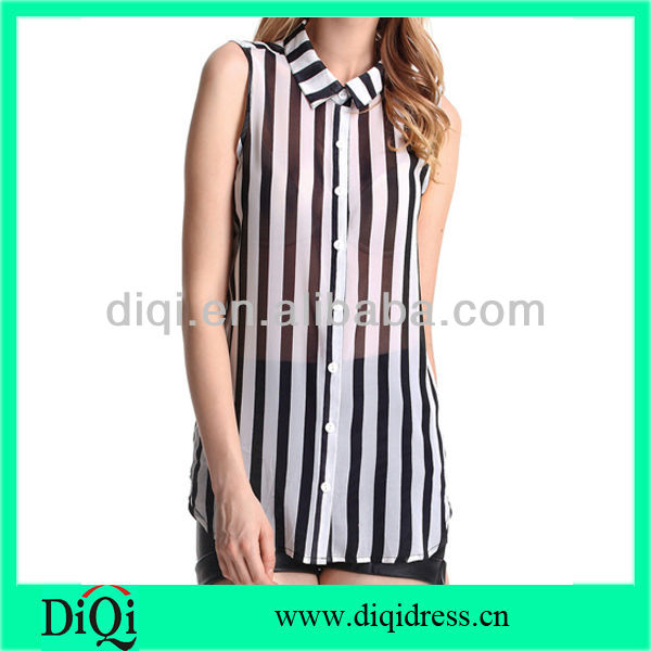 Zebra Stripe Sleeveless Blouse