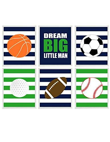 Sports Boy Room Wall Art Baseball Basketball Soccer