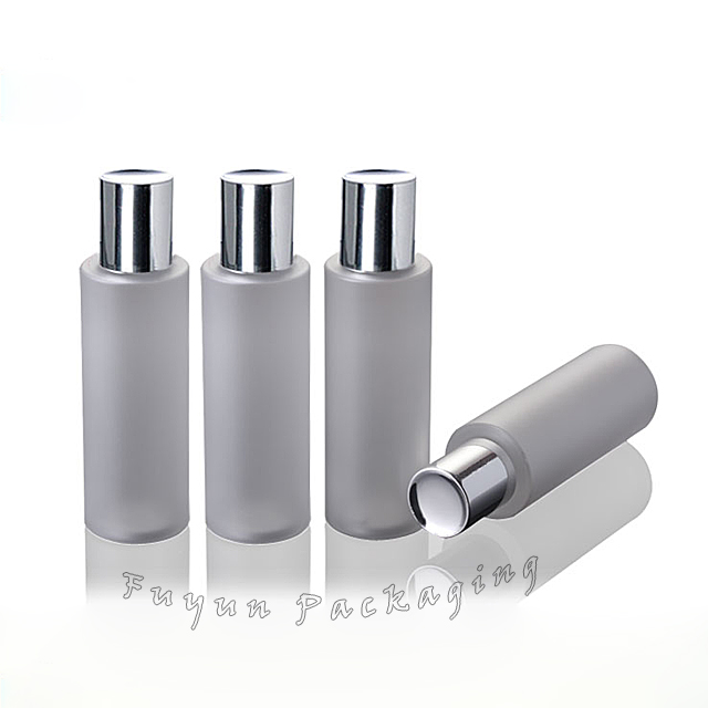Fuyun MOQ 1pcs Frosted 150ml lotion cosmetic toner PET plastic bottle with silver cap and insert