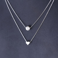 Fashion 925 silver pendant necklace pearl Layering necklace