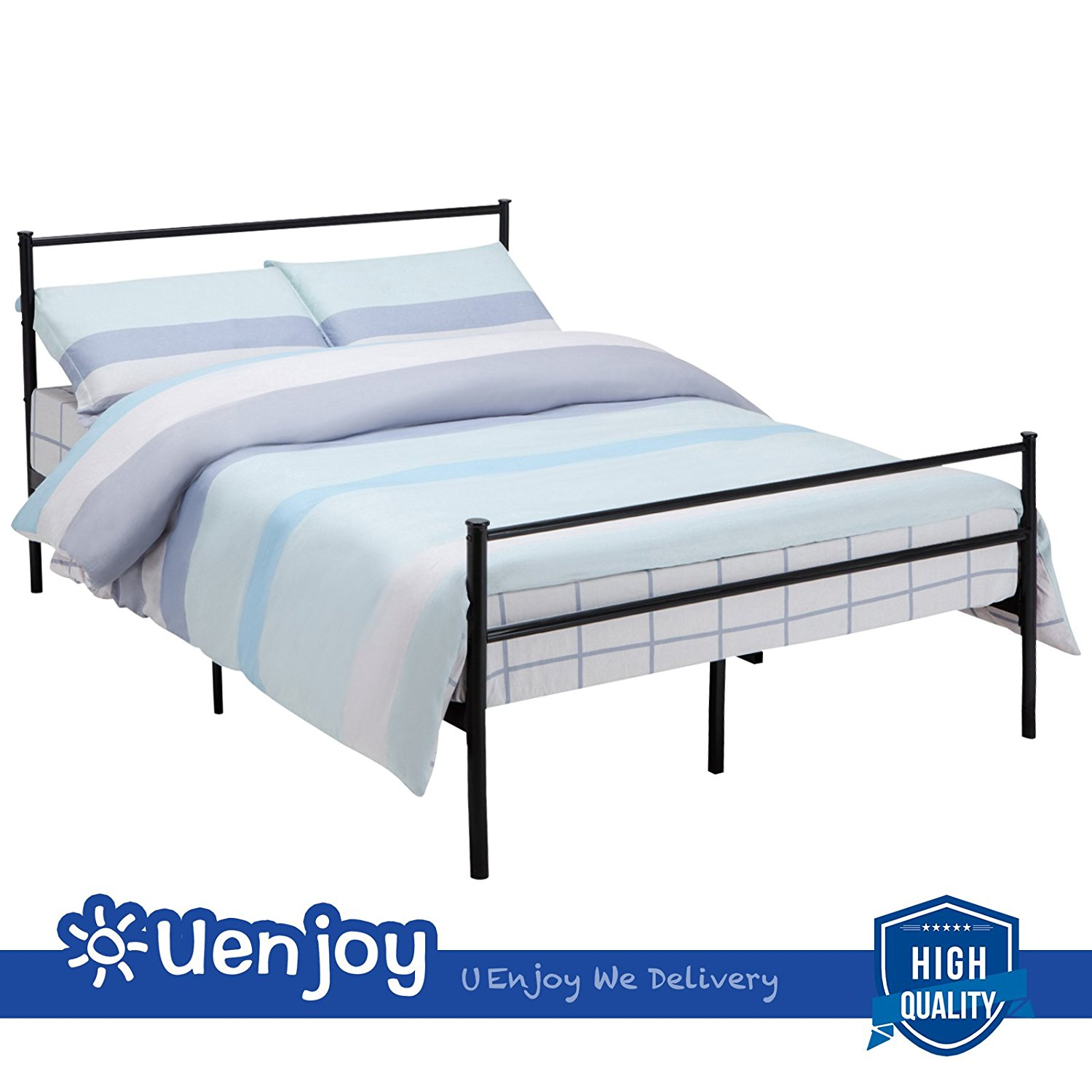 c3cccb30cf900 Get Quotations · New Queen Size Metal Bed Frame Platform Headboards 6 Leg  Bedroom Furniture