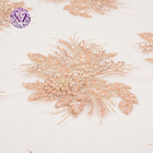 New arrival Good price mesh pearls embroidery pink sequin beaded lace fabric heavy