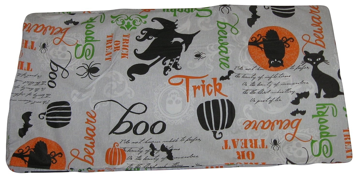 Halloween Witch Cat Owl Spider Words Silhouette Vinyl Tablecloth (52x90 Inch Oblong)