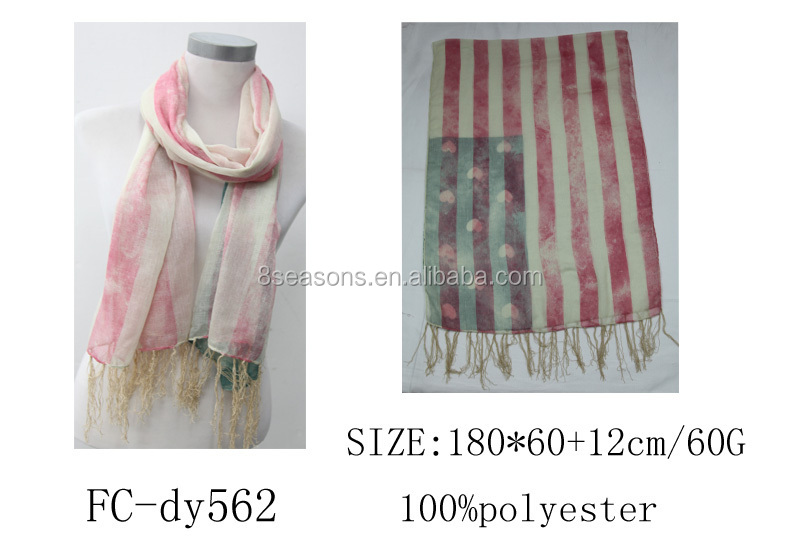 Women's Fashion Polyester Wrap Scarf Beautiful Long Grey & Pink Flag of the United States Print 180cm x 60cm,1Pc,8seasons