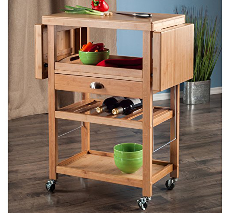 Elegant Design Bamboo Kitchen Furniture Storage Serving Trolley Cart