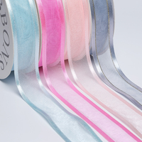 2015 High quality sheer satin edge organza ribbon