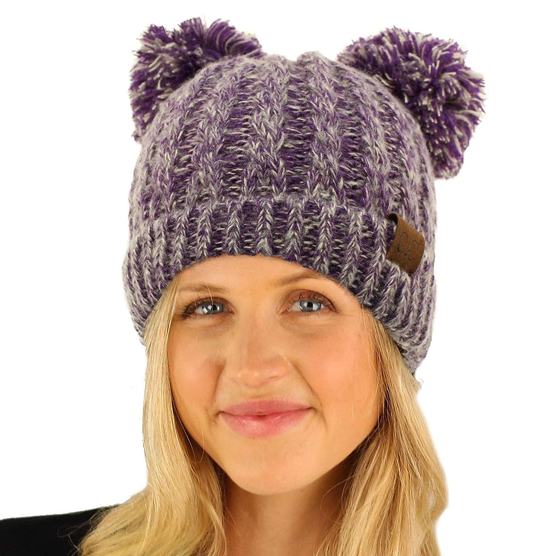 Get Quotations · CC Winter Cute 2Pom Pom Ears 2tone Soft Warm Thick Chunky Knit  Beanie Hat 86515dbd72b6