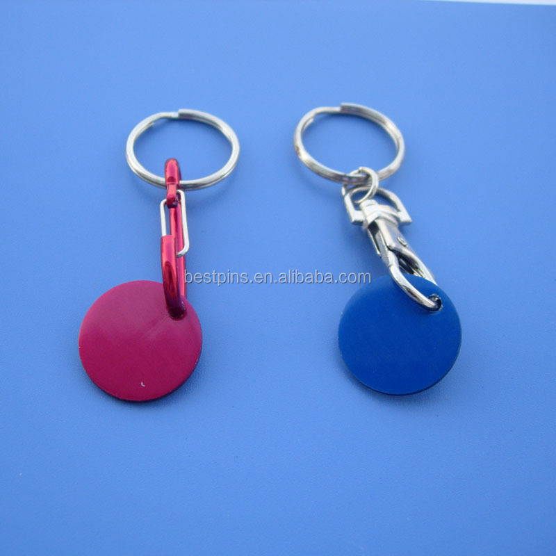 Round Disc Anodize Aluminum Keychain With Lobster Clutch