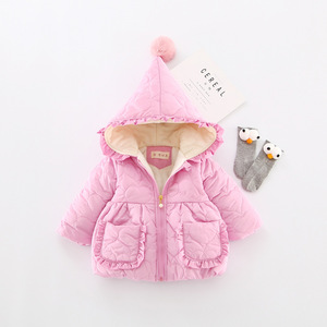 Hao Baby Wholesale Winter Solid Color Love Thick Hooded Cotton Coat 2017 Boutique Children's Cotton Coat
