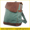 13032 Retro Back to School Men's Dark Grey Leather and Canvas Satchel Rucksack Shoulder Backpack