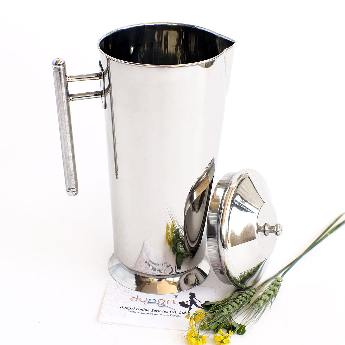 9d2c9af22f7 Get Quotations · Dungri Pure Handmade Stainless Steel Water Pitcher Jug  1700 ML with Lid -Water Pot Ice