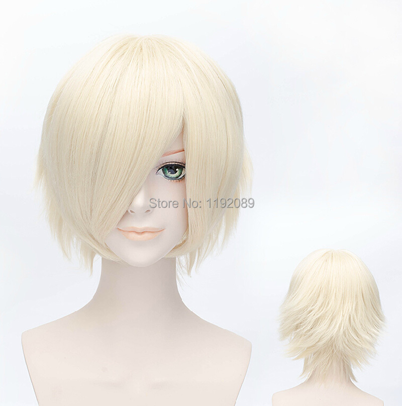 Cheap 12 inches Short Straight Light Blonde Anime Cosplay Wig for Women Synthetic Hair Wigs