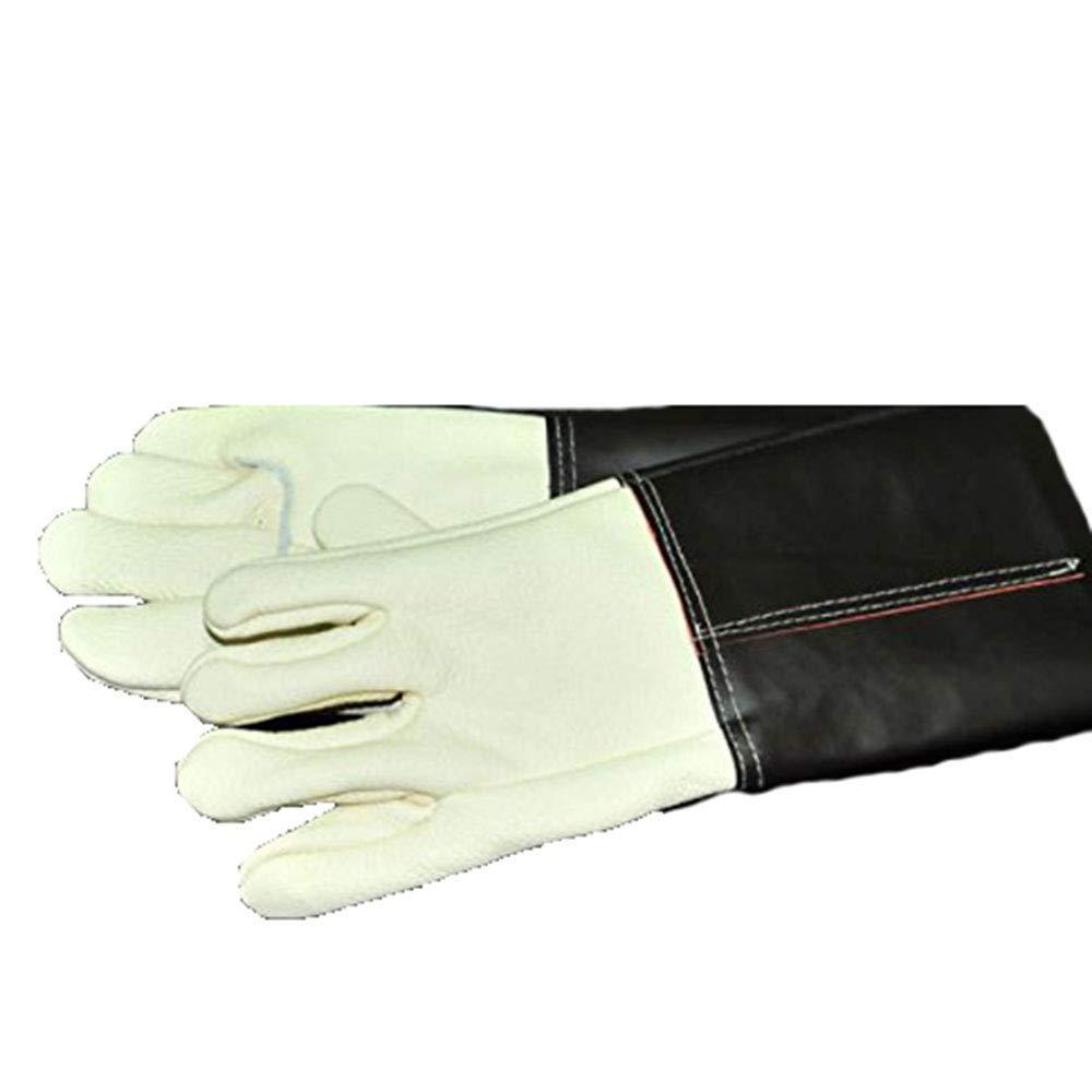 ANHPI Pets Anti-bite Anti-scratch Anti-hot Wear Lengthening Thickening Gloves Black + White,Black+White