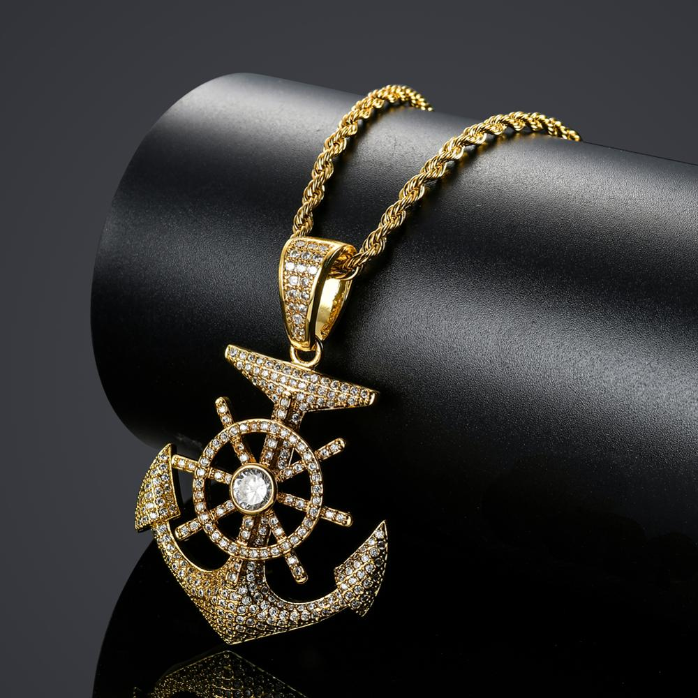 Bling bling Hip Hop Anchor Pendant Copper Micro pave with CZ stones Necklace Jewelry for men CN031