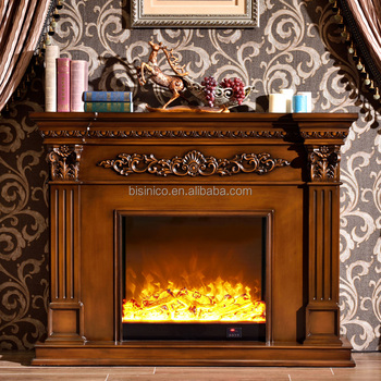 Antique Solid Wood Fireplace Mantel And Electric Insert Moq 1 Set
