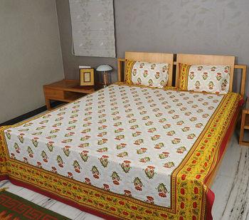 Jaipuri Bedsheet, Low Price Bedsheets, Indian Block Printed Bed Sheet