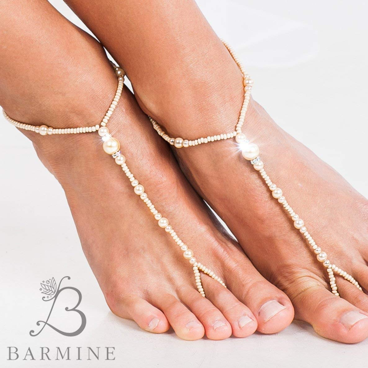 2d636f80962322 Get Quotations · Beach wedding barefoot sandals Bridal foot jewelry Ivory beaded  barefoot sandals Bridal Footless sandals Toe anklet