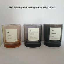 250ml 350ml Custom Spraying Transparent Color Thick Base Glass Votive Candle Holder Container with Fire Flaming Resist Label