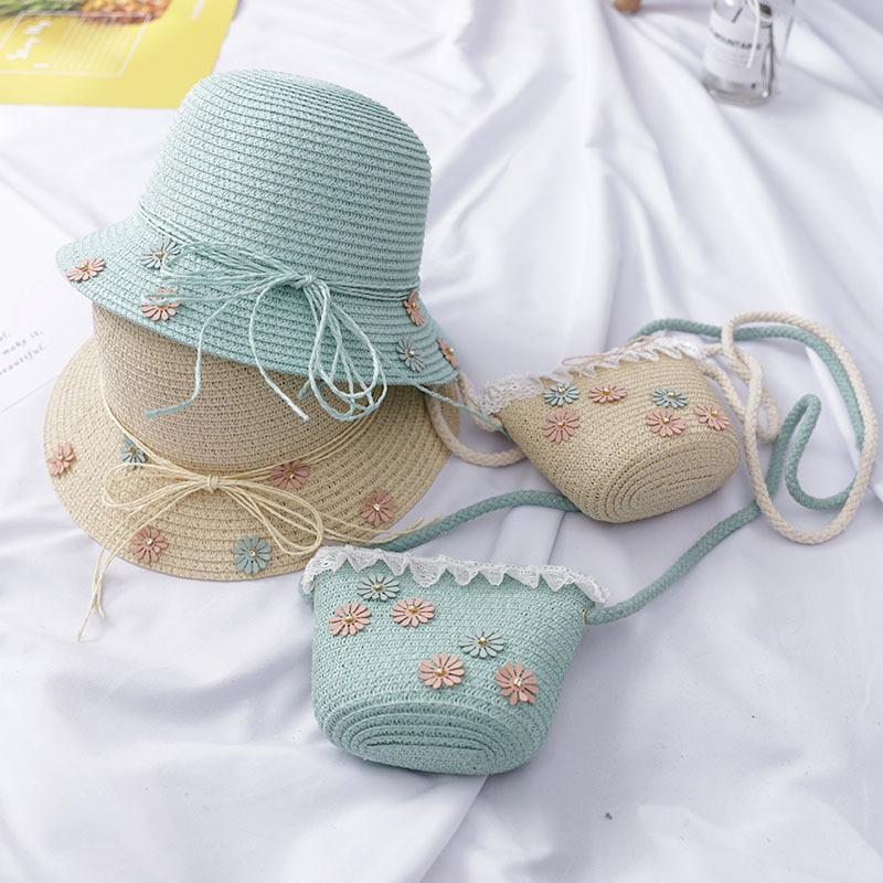 137d904d950a Новый дизайн Мода дети соломенная шляпа и сумка наборы для ухода за кожей  милые gilr летняя