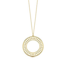 Yellow gold round pendant 925 silver necklace real gold chain