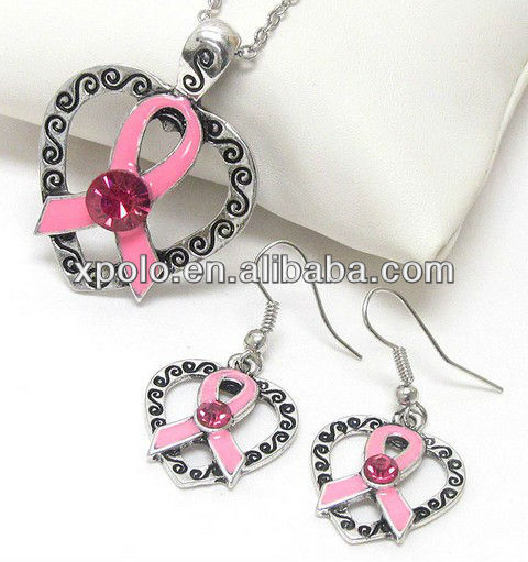 Antique silver crystal center and epoxy pink ribbon and heart necklace earring set jewelry
