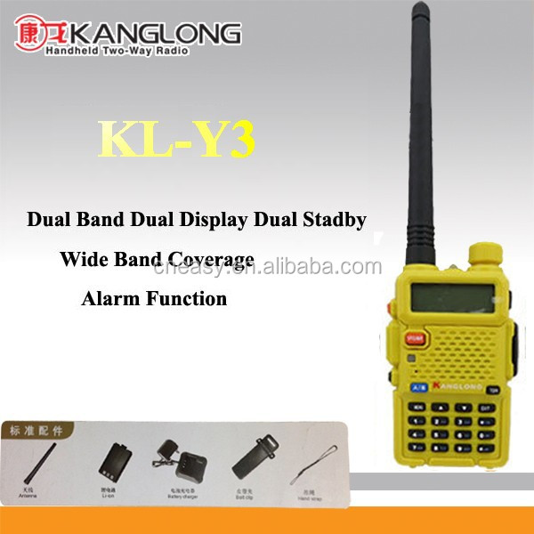 Lcd display walkie talkie kisaran terbaik dual band radio dua arah KL-Y3 kuning