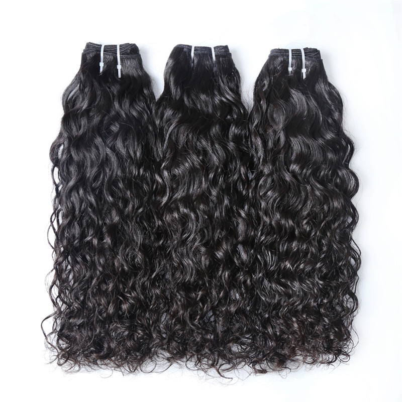 XBL Water Wave Premium Virgin Human Hair Weave Bundle, 2/8pcs Hair Bundles with Closure/ Frontal
