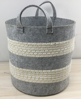 Wholesale Handmade Felt & Cotton Rope Woven Sewing Round Storage Basket With Handles