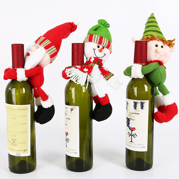 Christmas The doll holds the wine bottle sleeve Covers with Santa Claus, Snowman, Christmas Elf