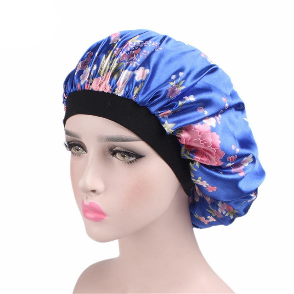 Hot Women Wide Band Shower Sleep Caps Satin Silk Bonnet Soft Satin Night Sleep Hat Hair Cap Lady Turban Printing New In Fashion Firm In Structure Bathroom Products