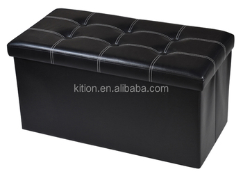 Factory Wholesale Solid Black PVC Home Bench Storage Ottoman Stool/ Magic Foldable Storage Ottoman/Box with Button