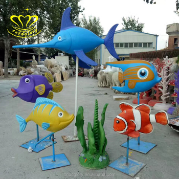 Garden decorate FRP resin Cartoon Animation Painting fish sculpture