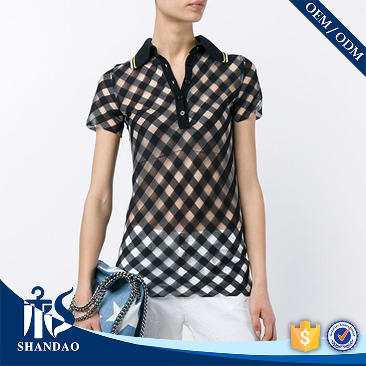 Guanzhou shandao Vintage trauma grid 200g 50% cotton 50% polyester polo neck short sleeve non brand polo shirts