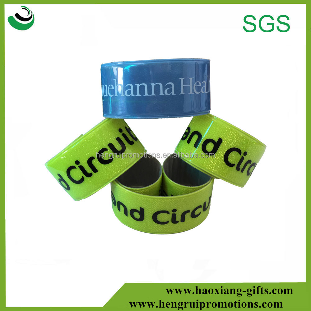 Promotional gifts custom logo reflective pvc slap wristband for kids, Slap Bracelet