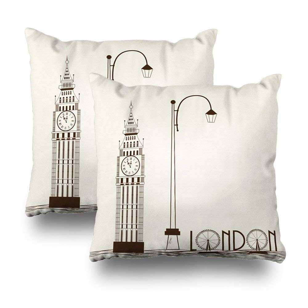 """Soopat Decorative Pillow Cover Pack of 2, 16""""X16"""" Two Sides Printed Big Ben London England Decorative Throw Pillow Cases Decorative Home Decor Indoor Nice Gift Kitchen Garden Sofa Bed Car"""