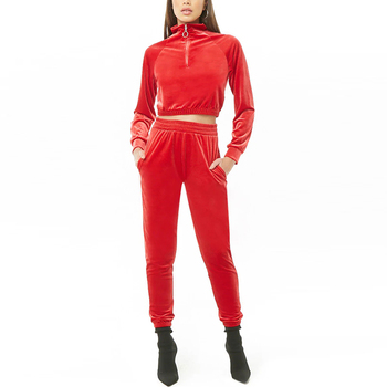 Wholesale Womens Two Piece Velour Sets Casual Sports Half ZipTracksuit Women