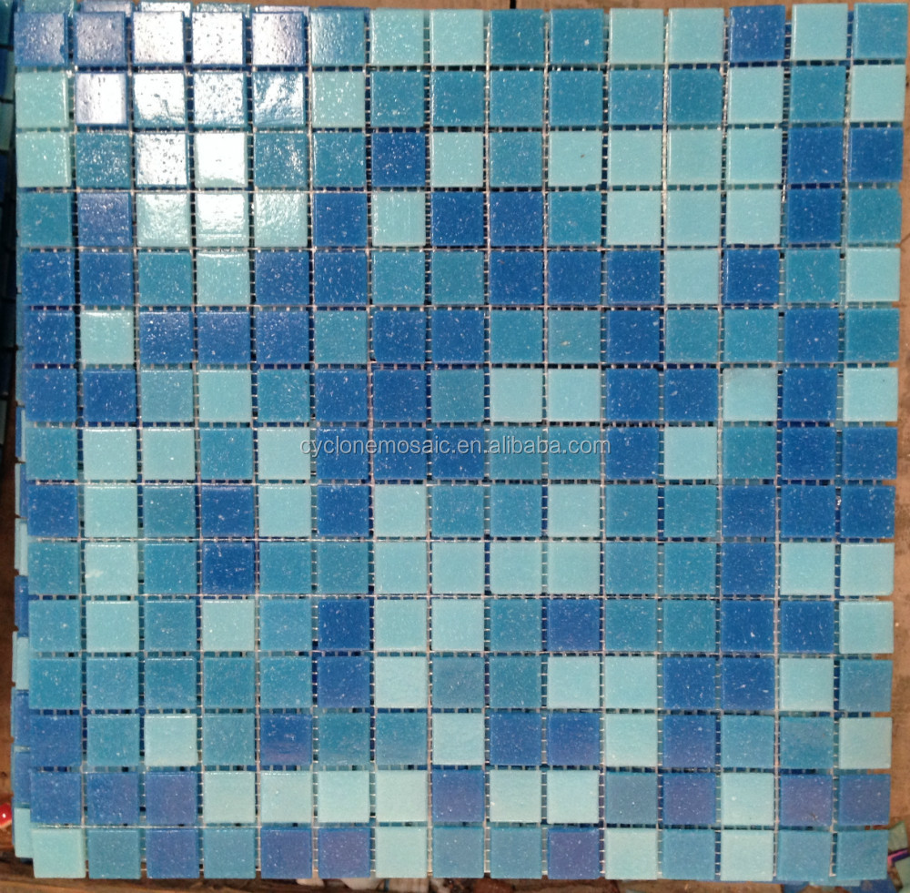 Interior finish glass mosaic in decoration, iridescent blue mosaic glass tile