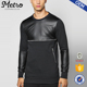 Fashion Mens Woven Leather Top Sleeve Sweatshirts With Zipper Pockets
