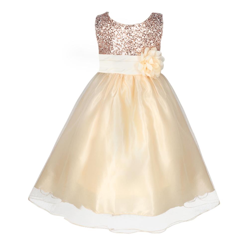2016 Vestido Infantil Flower Girls Pageant A line Sequin Princess Bridesmaid Gown Tutu font b Fancy