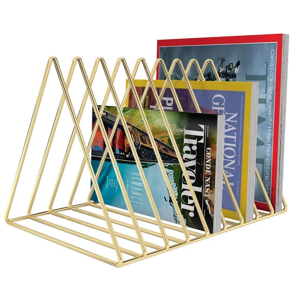 Треугольный Настольный органайзер с золотым металлическим утюгом, Настольная стойка для хранения, книжная полка, держатель журнала для офиса, украшения дома