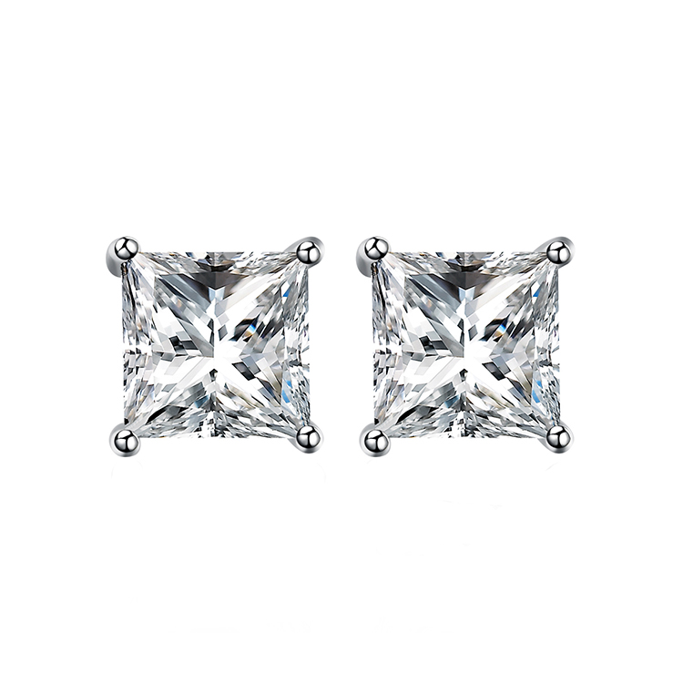 3-8 미리메터 single 돌 망 princess cut diamond cz stud earring